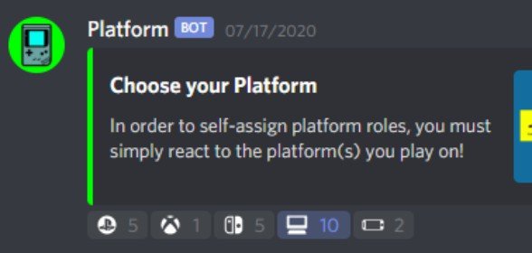 New Reaction Roles: Platforms
