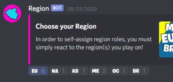 New Reaction Roles: Regions