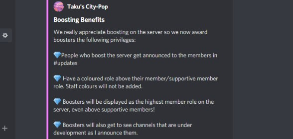 Benefits to server boosting!