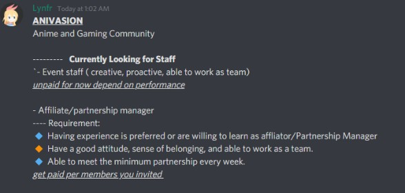 Currently looking for new staff ~